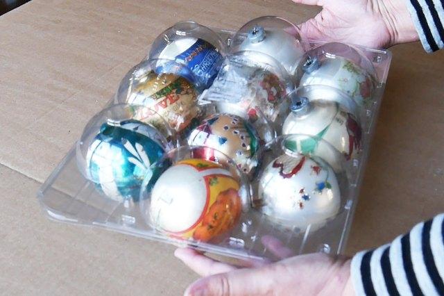 Christmas ornaments in fruit packaging