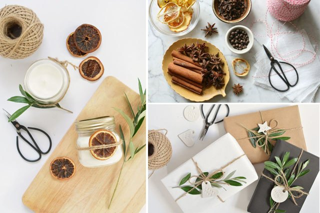 candles, mulling spices, wrapped presents