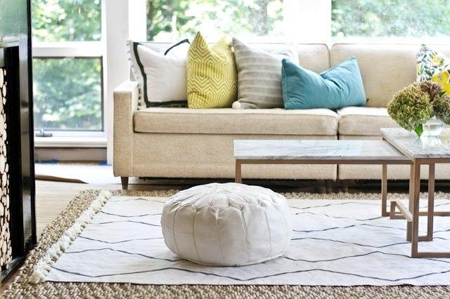 Drop cloth rug.
