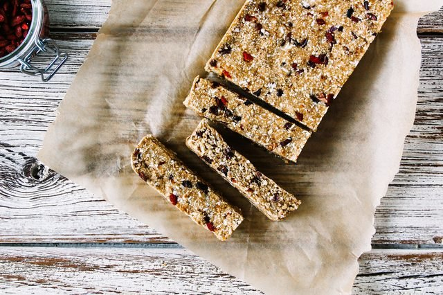 A rectangle of goji berry and cacao nib oat bars