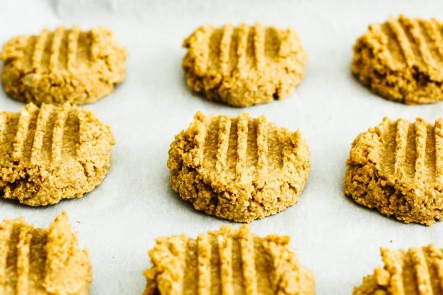 A batch of healthy, four-ingredient peanut butter cookies.