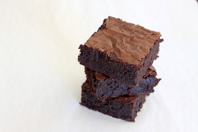 Three chocolate brownies.
