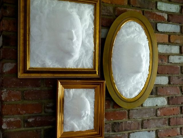 Ghost face picture frames give the illusion that ghosts are traveling through your walls.