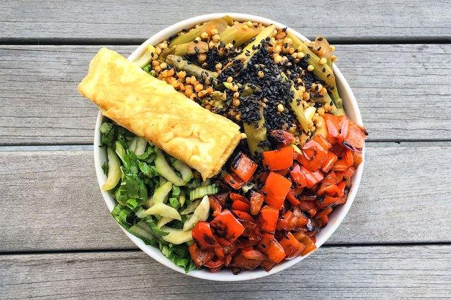 Tamari, Bok Choy, Sorghum and Rolled Omelet Bowl
