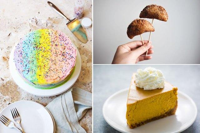 rainbow cake, apple pie, pumpkin pie.