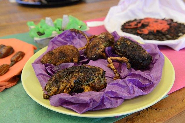Fried jalapeños made to look like rats.