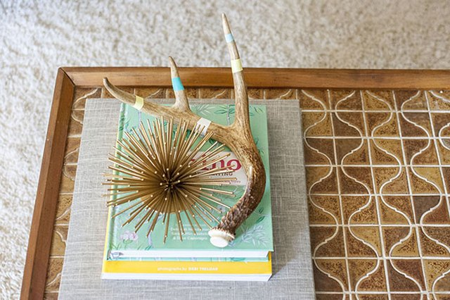 Embellished faux antlers on coffee table