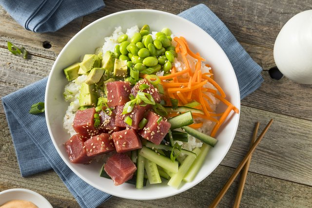ahi poke bowl with chopsticks