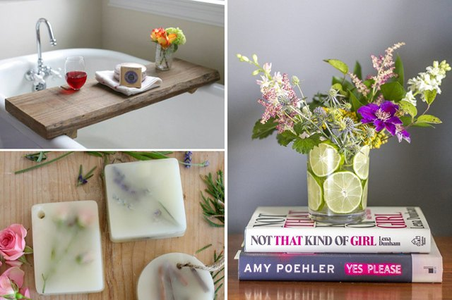 Collage of DIY bathroom projects