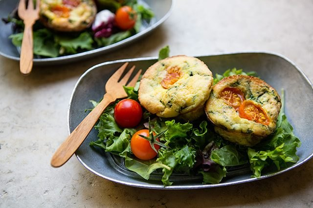 Spinach and tomato frittata with salad.