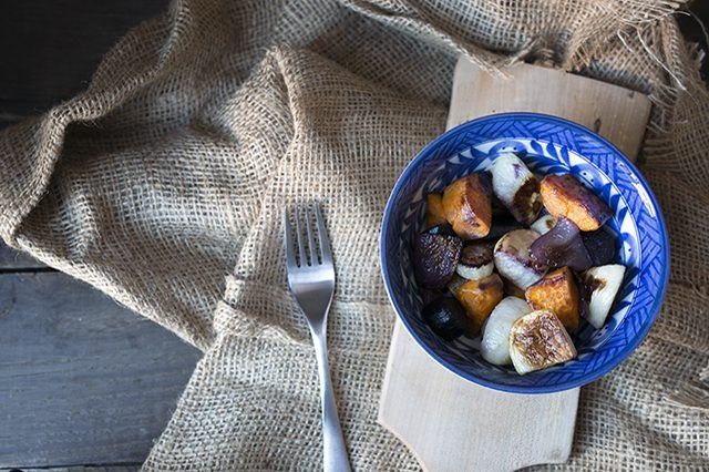 Roasted root vegetables in a bowl