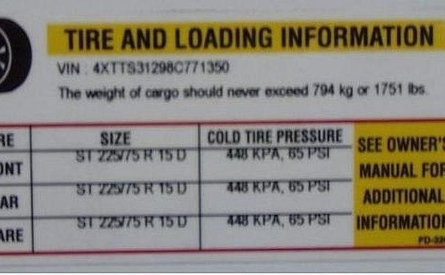 Tire loading sticker