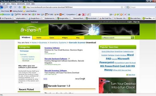 Screen shot of BrotherSoft home page