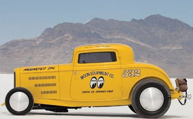 The 1932 Ford coupe was powered by a V8.