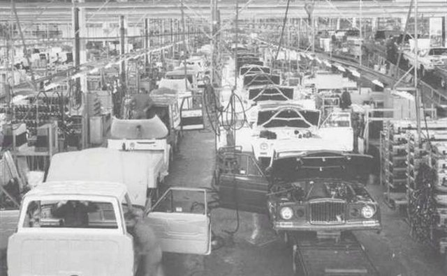 Jeep J10s at the AMC assembly plant.