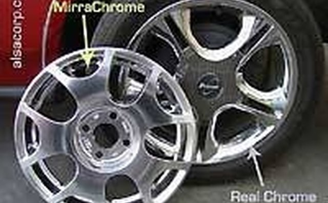A Mirra-Chrome and real chrome hubcap, side by side
