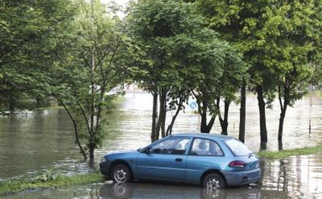 Car in flooding area