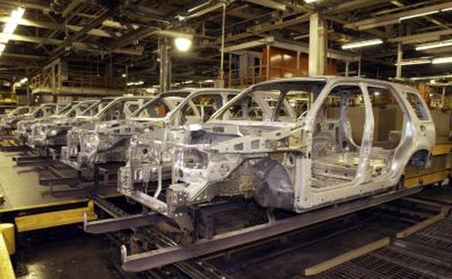 Mid-size SUV frames at auto assembly factory