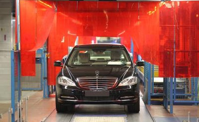 Mercedes-Benz S-class rolling off production line, Germany
