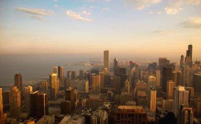 View of Chicago, a large city.