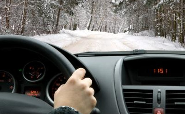 Car driving in winter conditions