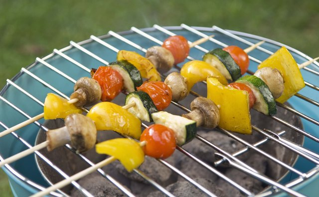 Grilled vegetable skewers are an easy and healthy option.