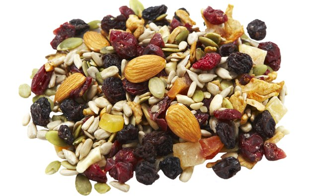 Trail mix is a healthy snack with lots of protein