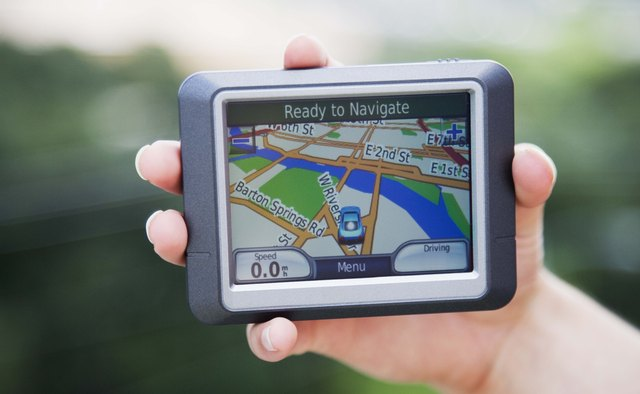 An advanced GPS superimposes your location over a map.