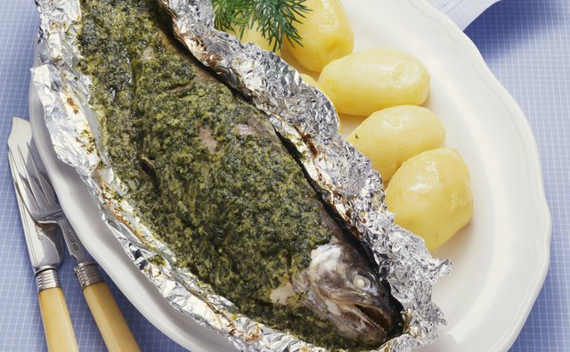 Prepare whole trout in tin foil.