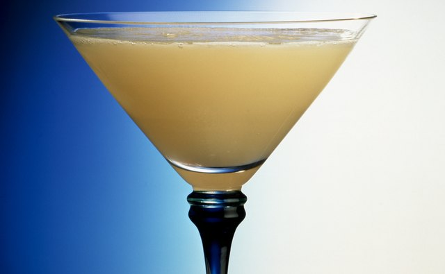 Martini glasses are wider and more shallow than wine glasses.