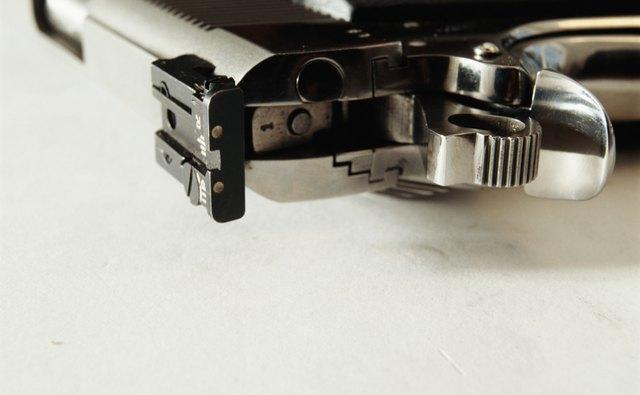 Back of handgun, closeup