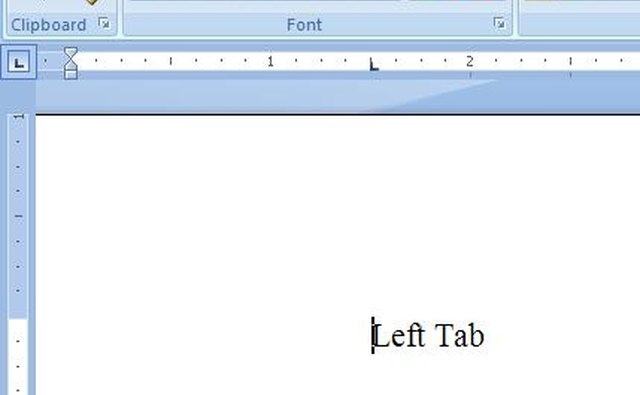 The tab set in the ruler functions in the document.