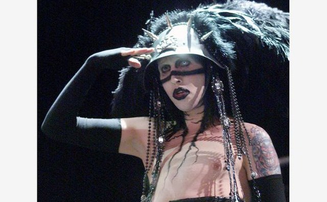 Marilyn Manson brought his signature dark style to a 2001 Ozzfest performance.