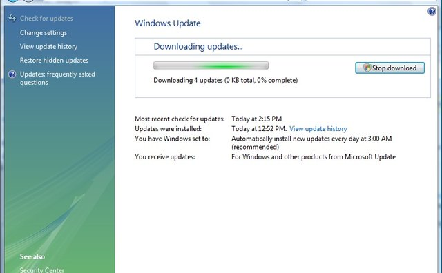 Downloading and installing updates.