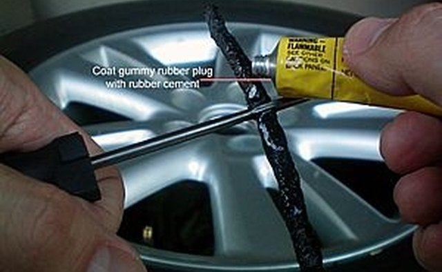 Coat the gummy rubber plug with rubber cement.