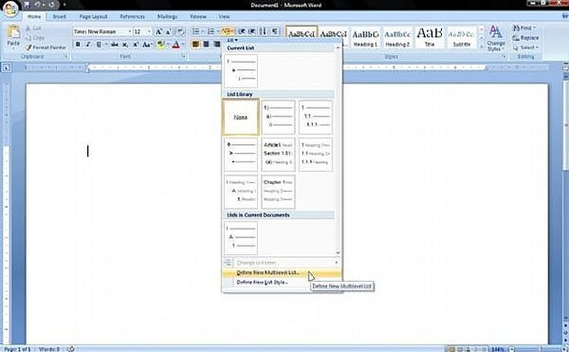 mla format template word 2007