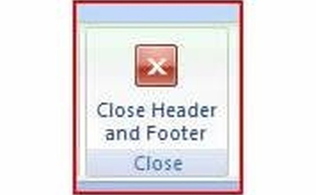 Figure 5 - The Header/Footer Close Button
