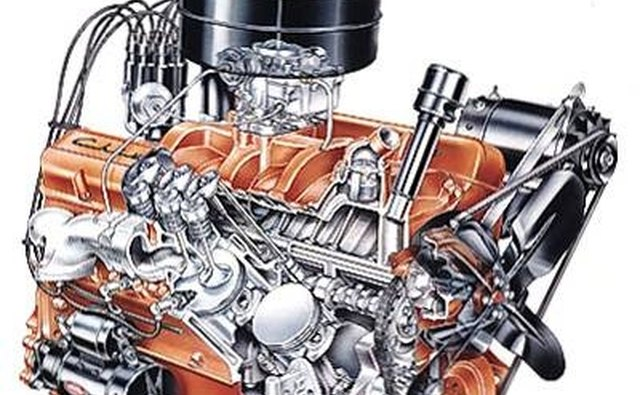 The standard Chevrolet 265-cubic-inch V8 engine