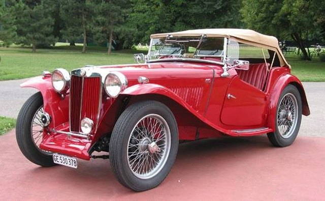 The British-made MG TC did not possess speed but still maintained the sports car image.