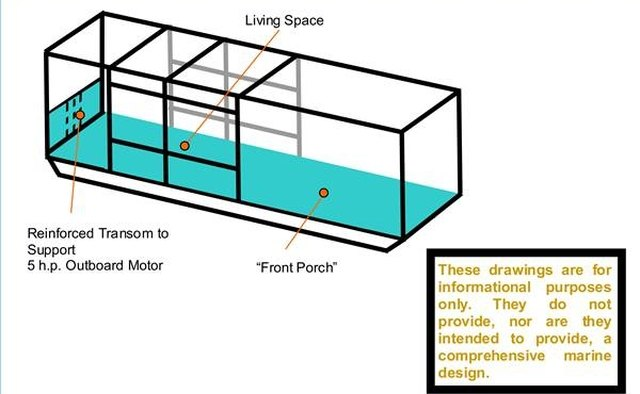 Generalized superstructure for a houseboat