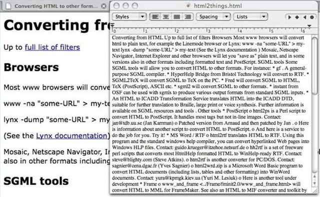 TextEdit Reading Web Page Saved as Text.