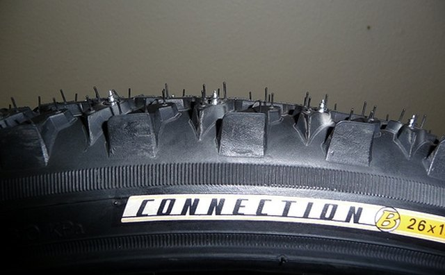 Studded tire close up