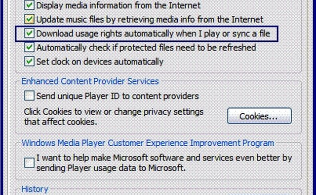The Privacy tab in the Options dialog box within Windows Media Player.