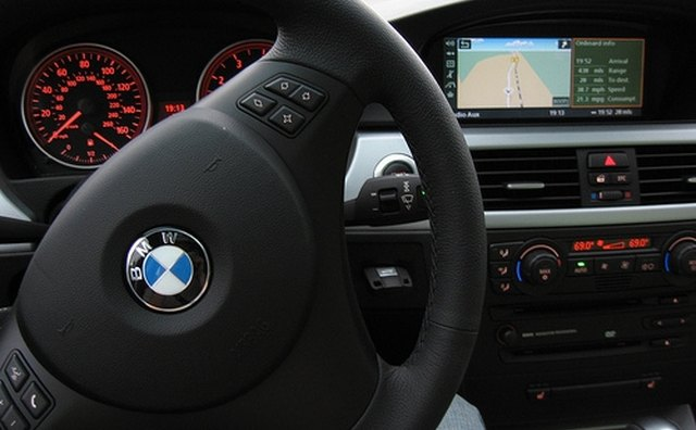 Many cars like this BMW have redundant Bluetooth controls on the steering wheel.