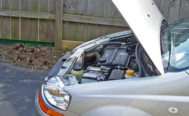 Automobile Engine Compartment with the Hood in the Raised Position