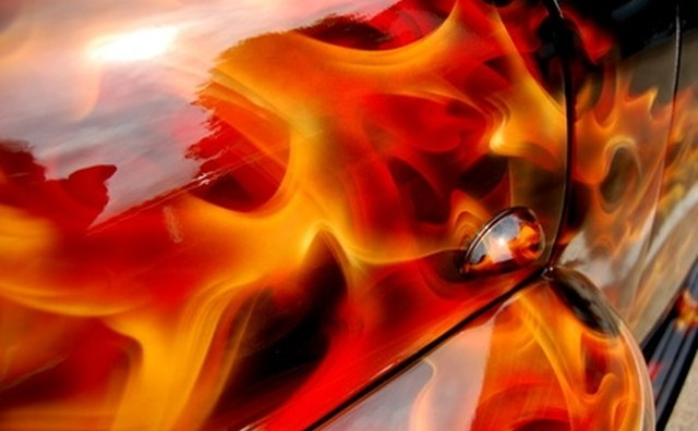 Flames are a common aspect of custom paint jobs.