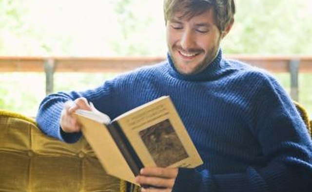 man reading funny book