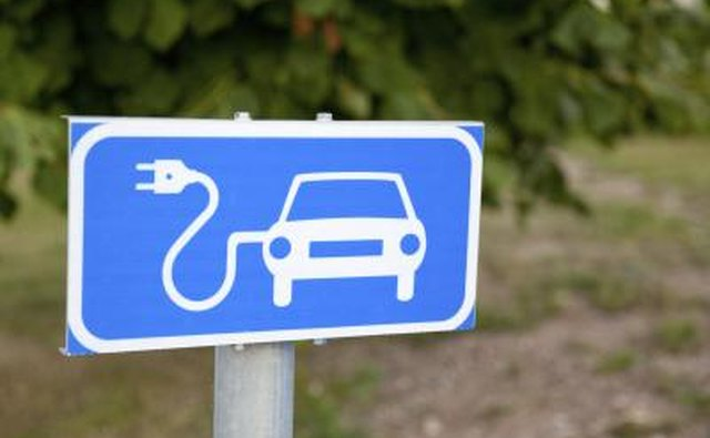 Electric charging sign for electric vehicles.