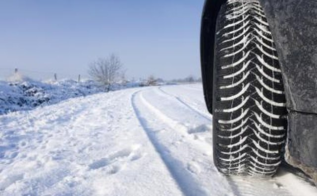 Car's tire driving through snow