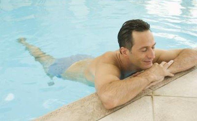 man in indoor pool